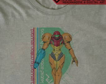 Metroid Samus Aran Wanted T-Shirt - Super Metroid  Bounty Hunter Tee by Rev-Level