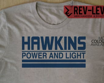 Stranger Things Hawkins Power And Light T-Shirt - Inspired by Netflix Stranger Things Hawkins Laboratory - Tee by Rev-Level