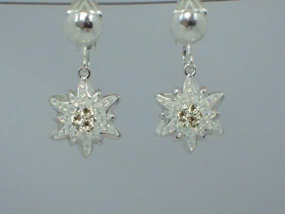 Jonquil Edelweiss Swarovski Crystal Clip On Earrings, Sterling Silver