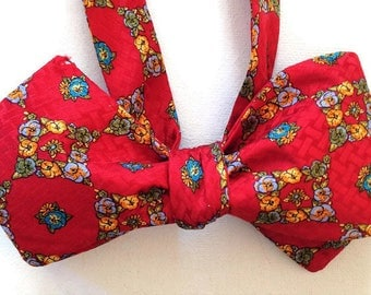 Silk Bow Tie  for Men - Patchwork - One-of-a-Kind, Handcrafted - Self-tie - Free Shipping