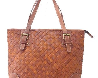 Mona Woven Leather Tote
