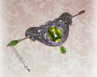 Victorian Shawl Pin Green Silver Brooch Vintage Style Scarf Pin Hair Slide Edwardian Filigree Outlander Antique Inspired Stick Outlander