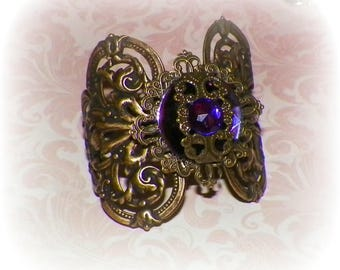 Cuff Bracelet Purple Pastel Goth Wide Victorian Vintage Amethyst Statement Style Steampunk Cosplay Costume Gothic Antique Gold Style