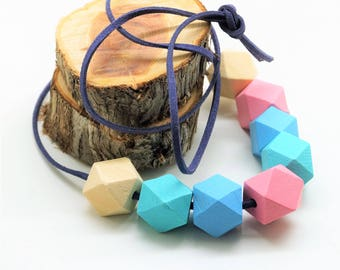 Kit necklace, suede cord brown 1 m, 8 polygons 20 mm pink, soft green, natural