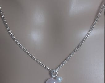 Rose Quarts & Pearl 925 Silver Pendant.
