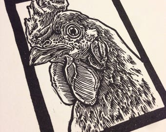 Rhode Island Red: Linocut original hand-pulled relief print