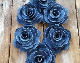 Denim Flower, Denim Rose, Country Wedding, Cake Decorations, Rustic Flower,  Wedding