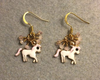 Small white and pink enamel unicorn charm earrings adorned with tiny dangling white and pink Chinese crystal beads.