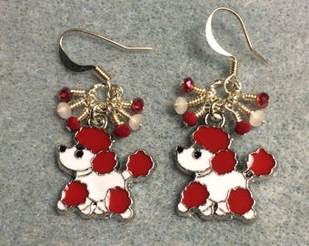 Red and white enamel poodle charm earrings adorned with tiny dangling red and white Chinese crystal beads.