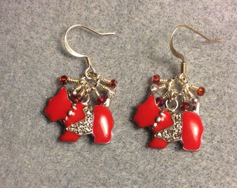 Red enamel and rhinestone Scottish terrier charm dangle earrings adorned with tiny dangling red and clear Chinese crystal beads.