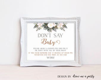 Dont Say Baby , Baby Shower Ideas , Dont Say Baby Game , Winter Baby Shower Games , Printable