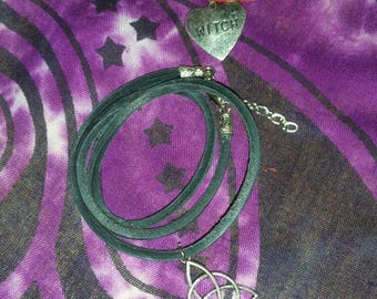 Leather Bracelet, Triquetra Bracelet, Heart Witch Bracelet, Multi Wrap Bracelet, Wiccan/Pagan Bracelet, Celtic Bracelet, Witch Bracelet