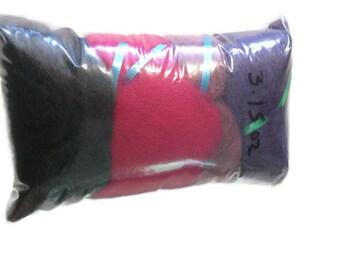 Hand Carded Mini Batts - Felting Batts - Spinning Batt Set - Spinning Wool - Felting Wool - Pink, Purple