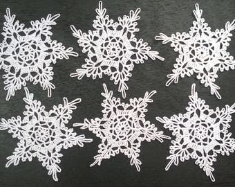 Hand crochet lace snowflakes / christmas decor