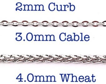 Stainless Steel Finished Chains For Necklaces, Four Styles of Stainless Steel Chains, Unisex Custom Finished Stainless Steel Necklaces