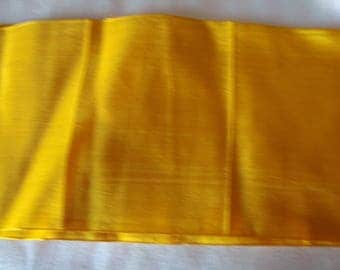 Wide ribbon has golden yellow silk old hat