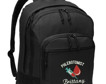 Phlebotomist Personalized Back Pack Embroidered