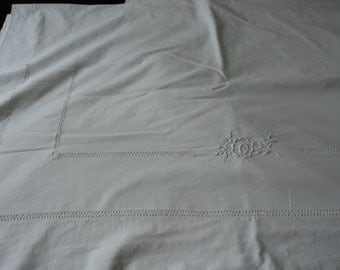 French vintage  cotton bed sheet with embroidered flowers and fancy threadwork hem (06147)