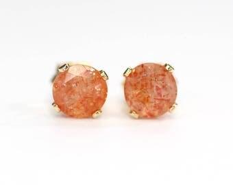 Sunstone earrings;Gemstone earrings;Stud earrings;Orange earrings;Gold-filled earrings;Post earrings; Sunstone studs;Gemstone stud earrings