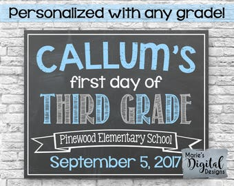 PRINTABLE - Personalized First And / Or Last Day Of School Chalkboard Photoprop Sign / Blue Gray Back To School Kindergarten Boy JPEG file