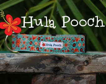 "Dog Collar ""Hapa"" Turquoise Orange -  Medium, Large, Wide, Adjustable // FREE SHIPPING"