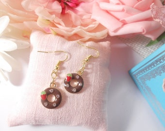 Metal gold and chocolate donuts earrings