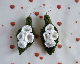 Lily of the Valley cotton crocheted earrings