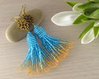 Blue gold earring Long tassel earring Seed bead earring Blue fringe earring Beaded tassel earring Blue gold tassel Beaded jewelry