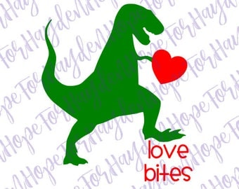 Boy Valentine SVG | Love bites dinosaur SVG | Valentine Dinosaur SVG