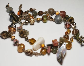 Bohemian bracelet charms, two rows, fall colors