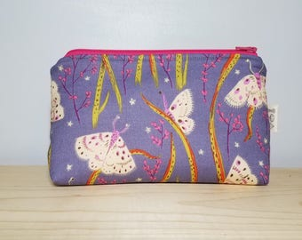 Butterfly/Moth Medium Wedge Makeup Bag - Travel Accessory - Gifts under 20 - Toiletry Case - Heather Ross Fabric - Organic Cotton