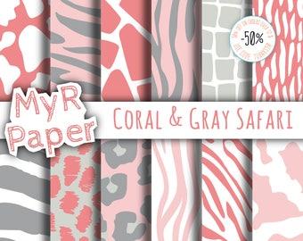 "Animal Digital Paper: ""Coral & Gray Safari"" patterns - jungle, zoo, animals, giraffe, leopard, zebra, tiger, cow. Digital scrapbooking"