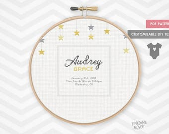 GOLD STAR BIRTH record counted cross stitch pattern, easy baby announcement pdf