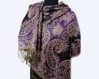 Paisley Purple Scarf, Paisley Shawl, Paisley Scarf, Gold Shawl, Fashion Floral Scarf, Indian Shawl, Ethnic Scarf, Gifts for Her Under 20
