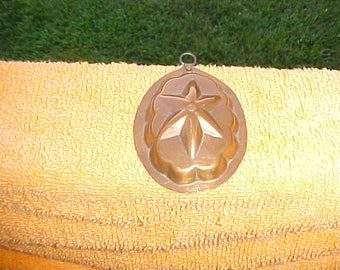 Copper Kitchen Mold! Vintage oval Tin Lined with 6 pointed star