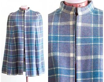 Lightweight purple plaid wool cape