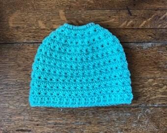 Light Teal Messy Bun Beanie. Messy Bun Beanie Hat.  Women's Bun Hat. Ponytail Hat. Ponytail Beanie. Women's Bun Beanie. Ready to Ship.