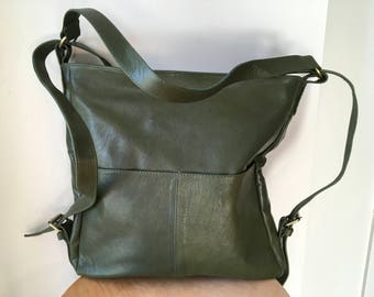 Convertible leather backpack bag. Shoulder tote made from real leather. Handmade soft, perfect for a laptop or travel bag. Extra short strap