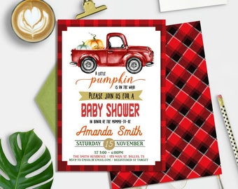 Pumpkin Baby Shower Invitation Boy, Fall Baby Shower Invitation Printable, Truck Baby Shower Invitation, Little Pumpkin Baby Shower Invite