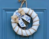 Life Saver Wreath , Nautical Themed Wreath , Anchor Wreath , Rhode Island Wreath , RI Souvenir Gift , New England Decor , Wreath Obsessed