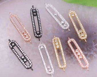 10Pcs Silver / Gold / Rose Gold / Metalblack Color Pave CZ/Cubic Zirconia Charm Connector Jewelry