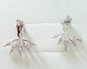 Rose gold stud spike earrings, black or dark brown zircons, 925 sterling silver