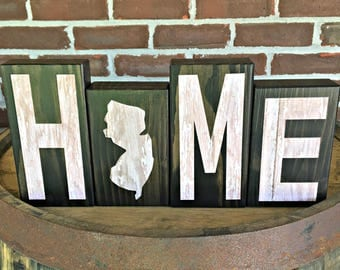 New Jersey Home Blocks | Rustic Wooden Letter Blocks | Wooden Home Decor | Housewarming Gift | Gift Under 20 | State of New Jersey Decor