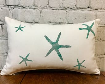 Starfish Stenciled Pillow Cover, White and Teal/Turquoise, 10x17, Nautical Pillow Cover, Beachy Pillow Cover, Coastal Pillow Cover