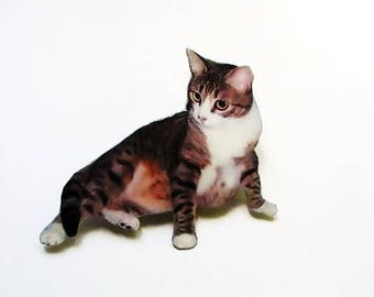 Brooch or badge cat cartridge paper