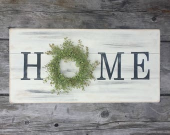 Large home sign with wreath, wooden sign, farmhouse sign, farmhouse wreath, pallet sign, rustic sign, fixer upper style, distressed sign
