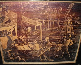 Negatively worked scene-rural get-together with mill-around 1940-painting