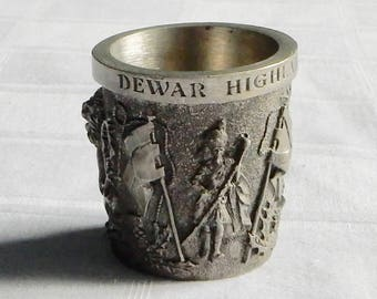 Dewar Highlander Scotch Whiskey Pewter Shot Glass - Small Dewars Bas Relief Pewter Cup- Dewar's Logo Whiskey Cup - Dewars Whiskey Shot Glass