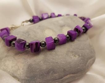 Purple mother of pearl/hematite bracelet