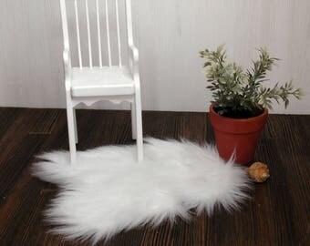 imitation goatskin dollhouse rug faux fur goat skin 16 14 12 inch